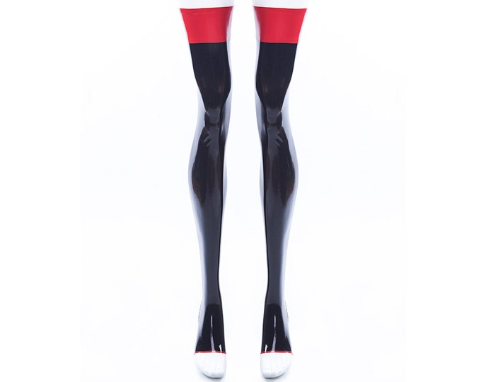Toeless Latex Stockings With Contrast