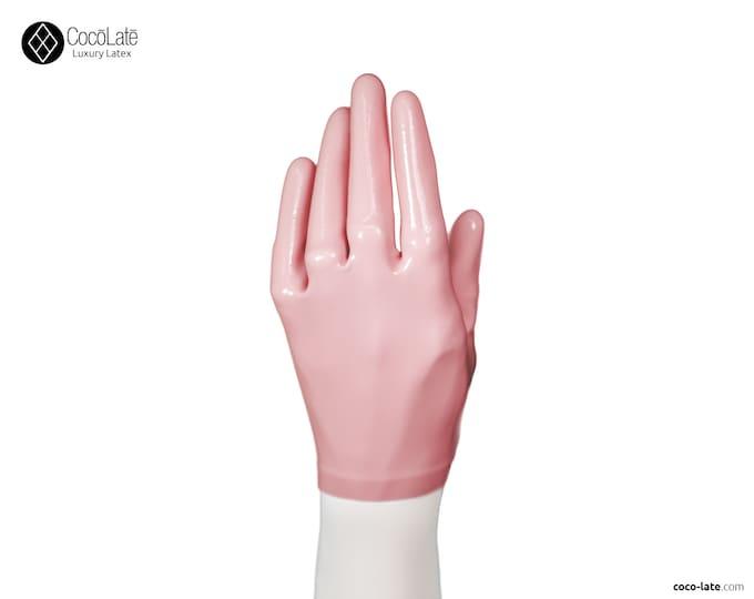 Latex Short Gloves - Pink color