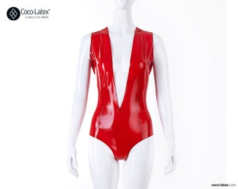 V Cleavage Latex Bodysuit