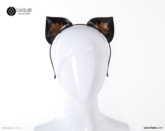 Latex Kitty Ears With Contrast Appliqué