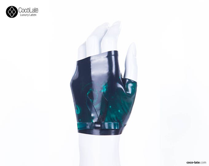 Marble Fingerless Latex Wrist Gloves With Bow