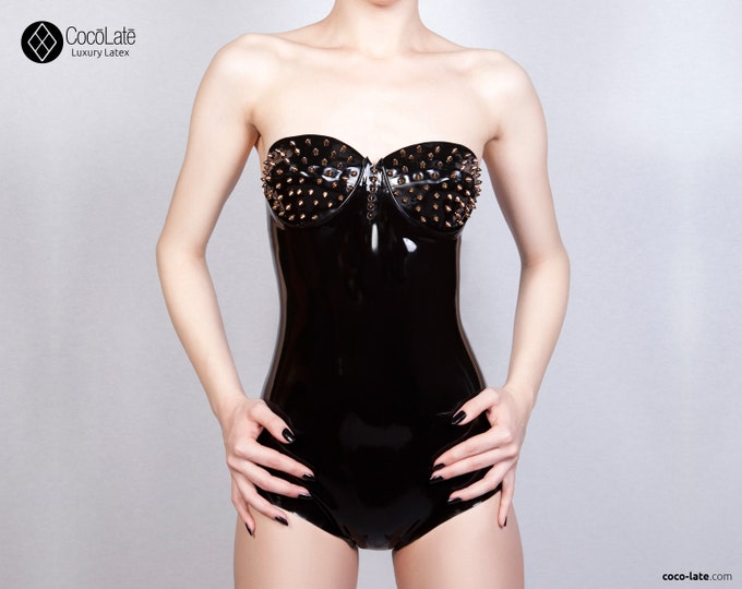 Maia Latex Bodysuit With Spikes