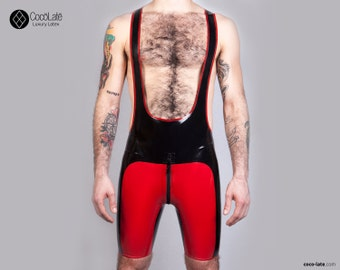Color Code Latex Wrestler Suit