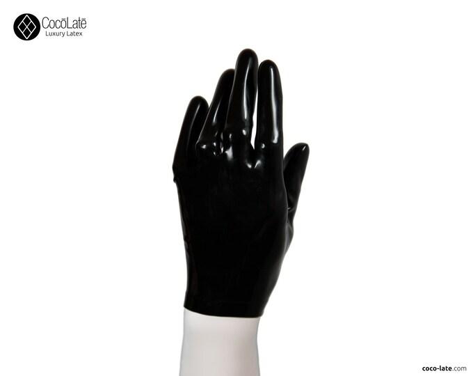 Latex Short Gloves - Black color