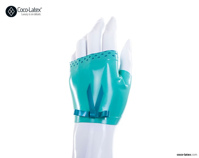 Latex Fingerless Wrist Gloves With Brocade Trim And Bow