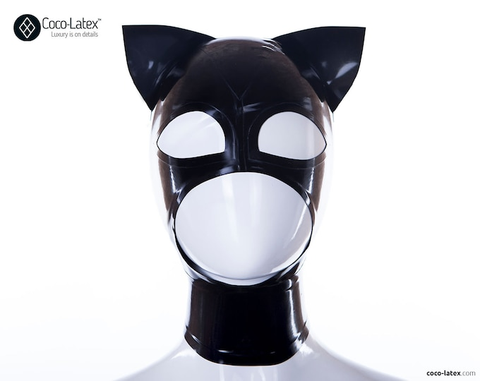 Kitty Ears Latex Hood - Ready to ship