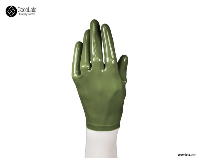 Latex Short Gloves - Olive green color