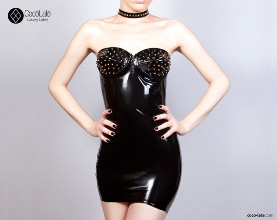 Maia Latex Mini Dress With Spikes