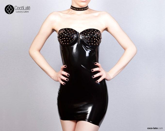 Maia Latex Mini Dress With Spikes