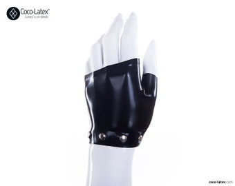 Latex Fingerless Wrist Gloves With Studs