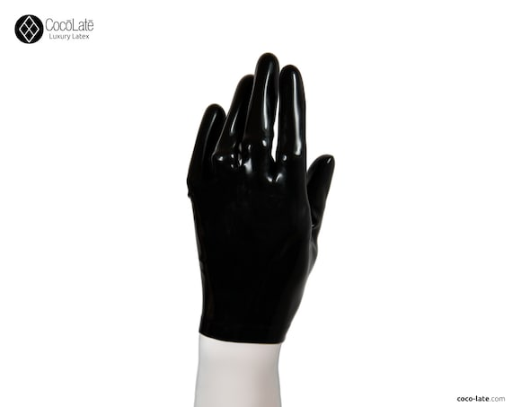 Latex Short Gloves - Black color