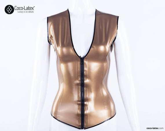 Latex Top Eva With Deep V Cleavage & Front Zip