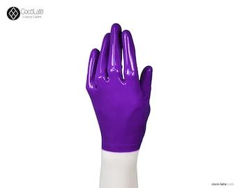 Latex Short Gloves - Violet color