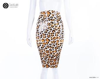 Leopard Latex Pencil Skirt