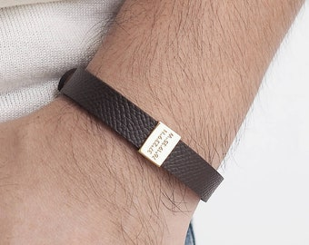 Personalized Leather Bracelet Valentines day gift for him - Personalised Fathers Day Gift - Anniversary Gift - Groomsman gift - LB01