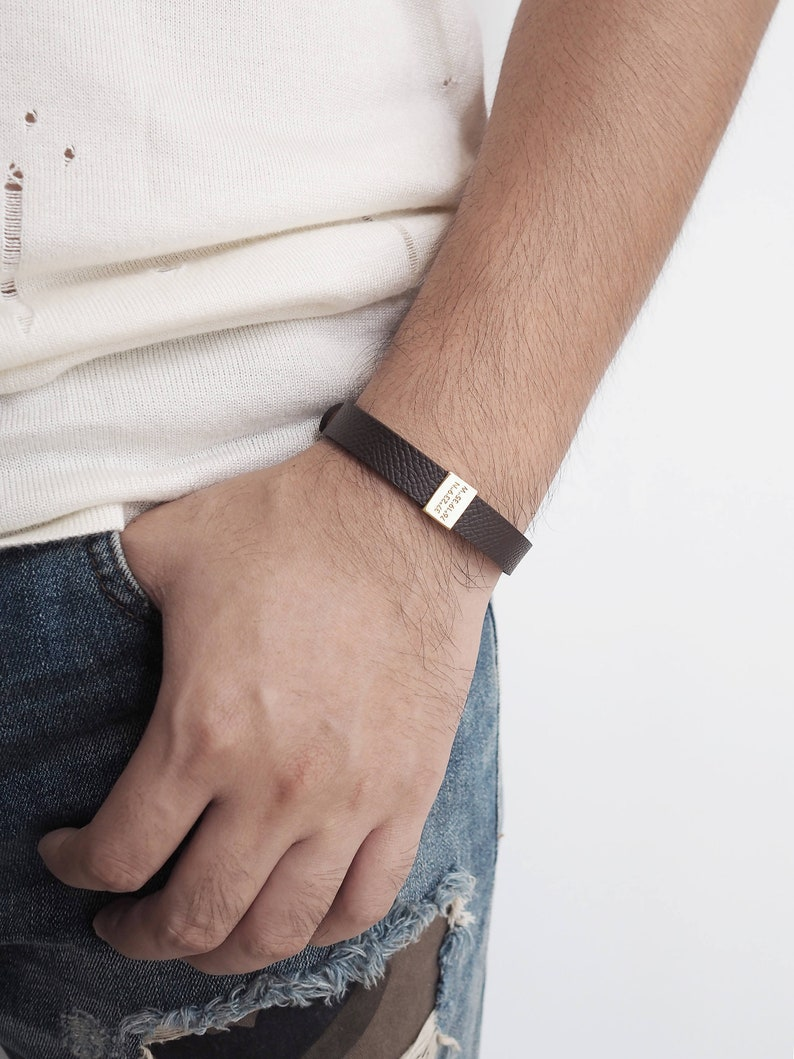 Personalized Leather Bracelet Valentines day gift for him  image 0