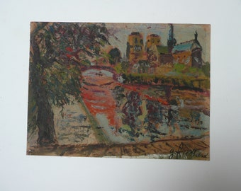 1940's oil on board painting of Notre Dame from the Left Bank /  looking towards the Pont au Doubleé by George Fressard