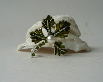 c6fdc08aa Vintage green and silver tone brooch leaf shaped with Faux Pearl and Green  Glass Gems