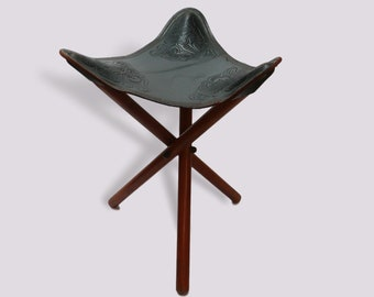 Superbe Charming Antique South American Folding Tripod Chair Stool With Black  Tooled Leather Seat