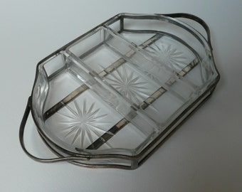 Antique Cut Crystal English Elecroplate Silver Plate Framed Nibbles hors d'oeuvres tray by Maxfield & Sons