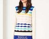 Ondina Sweater - Fall Winter Fashion - Women - Art Pattern - Pattern Knit Sweater - White Pink  Blue Mint Yellow Sweater Jumper