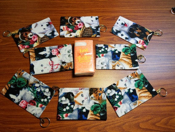 Tissue Packet Rainbow Cats Kittens Pocket Holder Fabric Cover Handmade