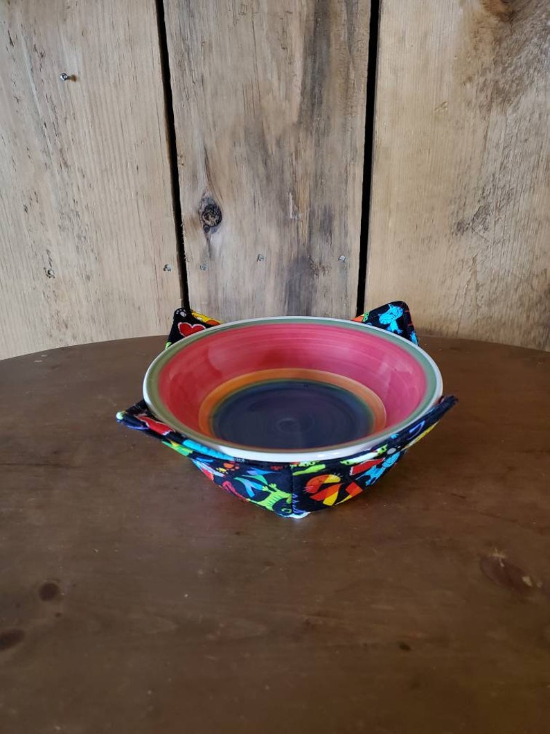 I love my cat microwave bowl cozy vegetable elderly hot pad for bowls gift ice cream cozy trivet reversible bowl holder homemade