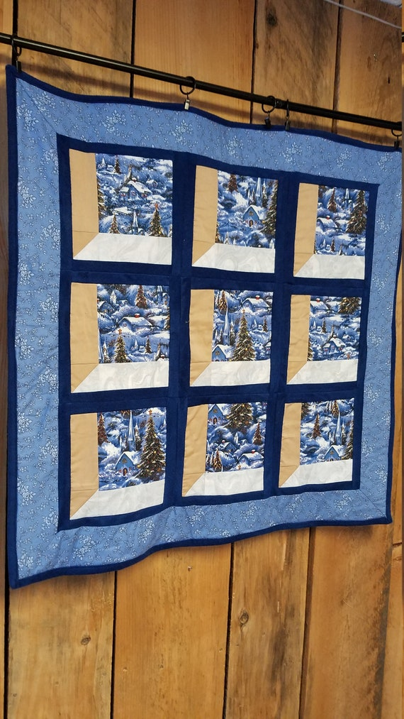 Christmas Attic Window Quilt Pattern.Quilted Attic Window Wall Hanging Christmas Gift Handmade Wall Decor Winter Wall Hanging Christmas Decor