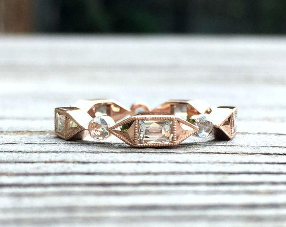 14K Rose Gold Full Eternity Vintage Antique Style Diamond Wedding Ring Band