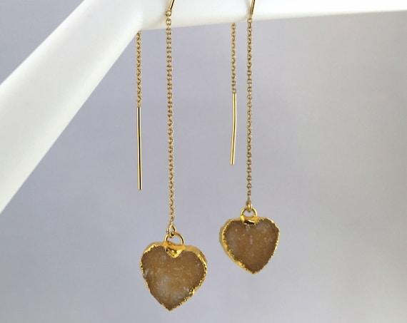 24K Gold Edged Druzy Heart Chain Thread Earrings
