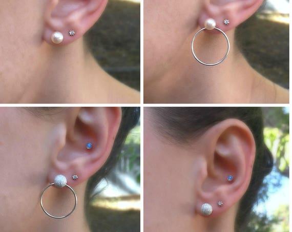 Reversible Pink Freshwater Pearl and Sterling Silver Stud Hoop Earrings