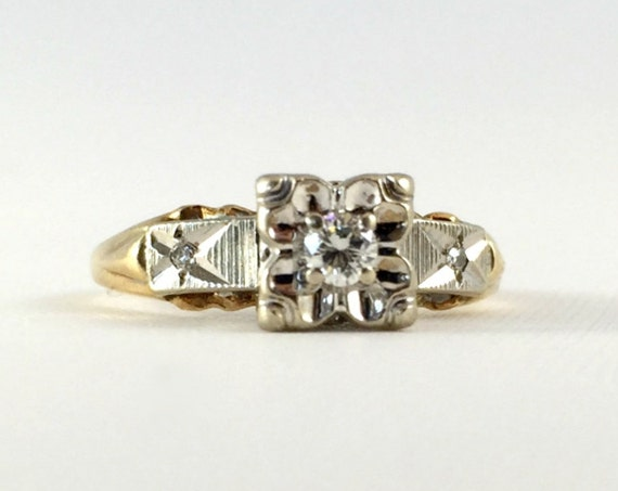 Antique Vintage Art Deco 14K White and Yellow Gold Two Tone Diamond Engagement Ring