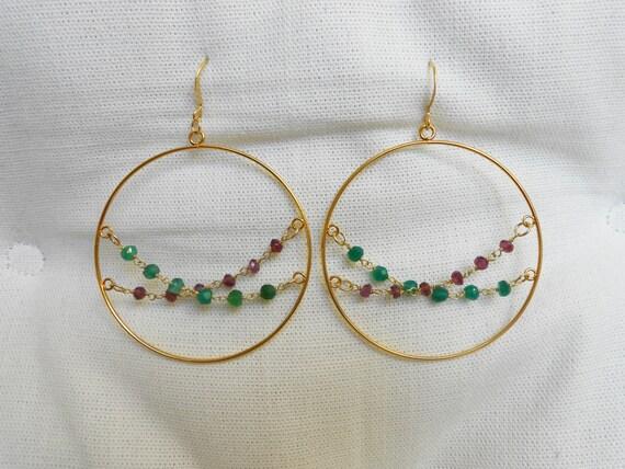 Emerald and Garnet Gemstone Criss Cross Chain Hoop Earrings