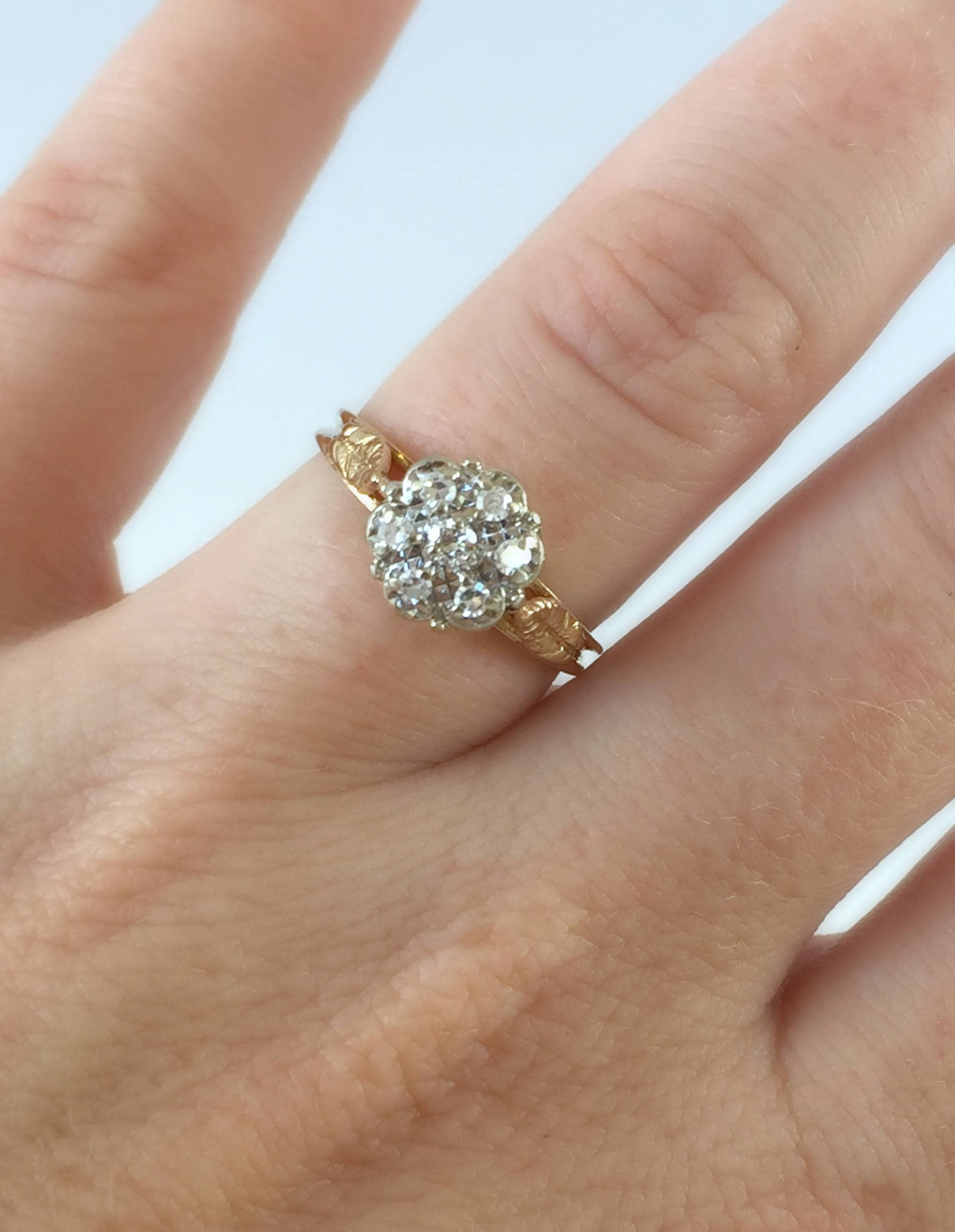 14k Vintage Two Tone Yellow And White Gold Diamond Cluster Flower