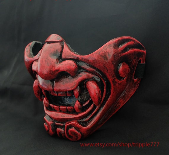 TACTICAL HALF FACE AIRSOFT MASK,COSPLAY BB EVIL DEMON KABUKI SAMURAI HANNYA ONI