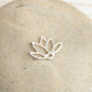 :tm0150 2 of 925 Sterling Silver Lotus Connectors,Links 8x12mm
