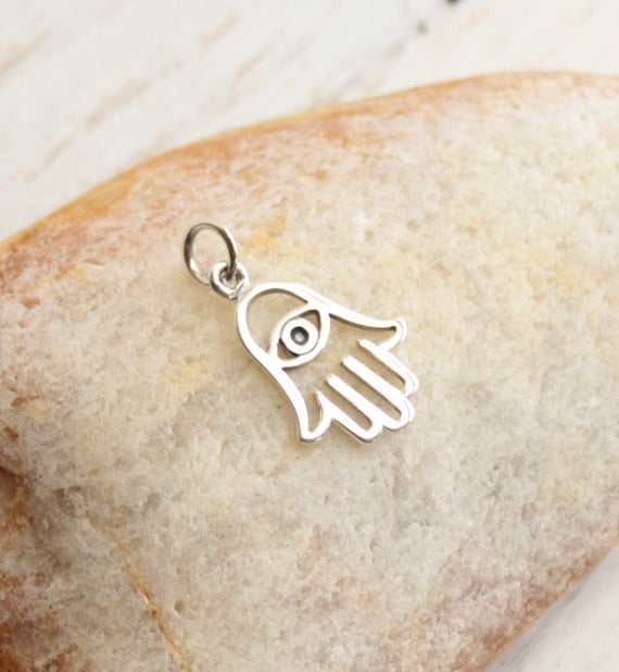 sold per 2 pieces Sterling Silver Hasma Hand Charm 8mm