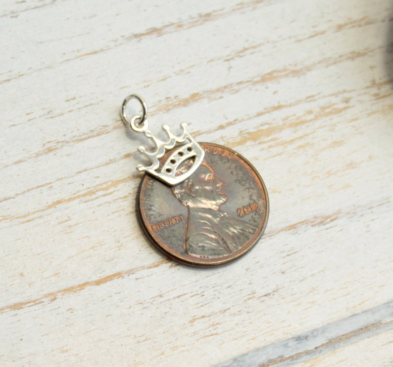 One Piece Sterling Silver Tiny Crown Charm