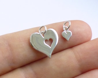 Sterling Silver Mother and Daughter Cut Out Heart Pendant Set  --  1 Set of 2 Charms