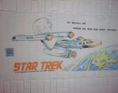 1975 Paramount Pictures StarTrek Beach towel featuring the USS Enterprise