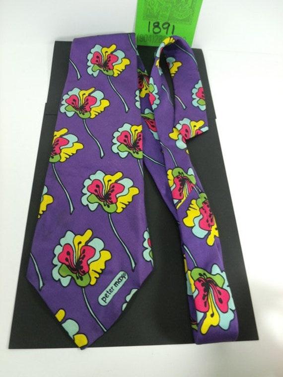 """1970's Peter Max """"Hibiscus"""" Silk Tie"""