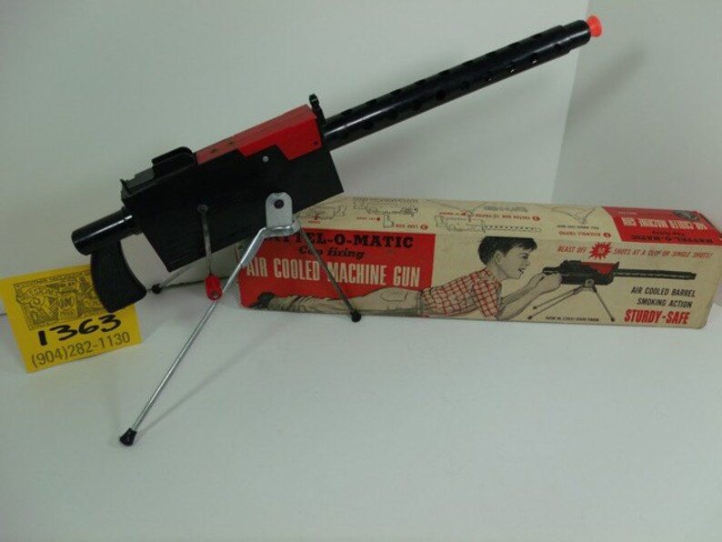 1950's Mattel-O Matic Air-Cooled Toy Machine Gun w/ Box