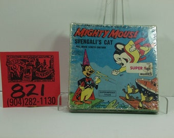 "1950's Ken Films #256 Mighty Mouse in ""Svengali's Cat"" Super 8 Movie and box"