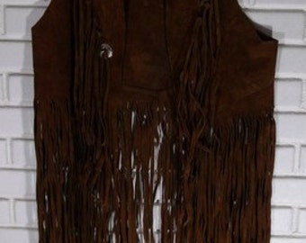1960's Hippie Long Fringe Cowhide Vest.