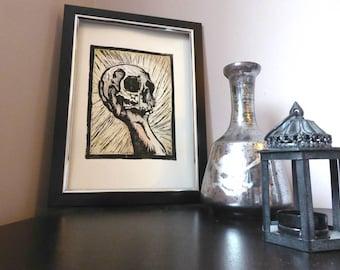 Hamlets Skull Lino Print
