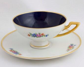 Heinrich Co Floral Cobalt Blue Demitasse Cup Saucer H   C 1534 China Floral  Teacup Tea Party Decor Blue Footed Demitasse Set Floral China 35445586c