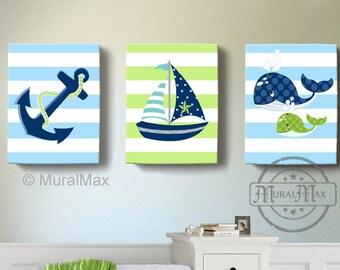 Nautical Nursery Art - Sailboat Anchor Whale Nursery Decor -Baby Boy Room Decor -Set of Three Canvas Wall Art - Navy And Green