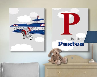 Vintage Airplane Decor - Vintage Airplane Art - Personalized Vintage Airplane Wall Decor - Vintage Airplane Wall Art