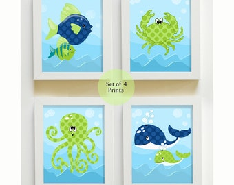 Pink Under The Sea Whale Octopus Crab Girls Printable Nursery Wall Art