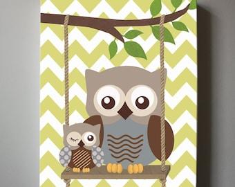 Woodland Owls Canvas Art Owl Nursery Decor Blue And Red